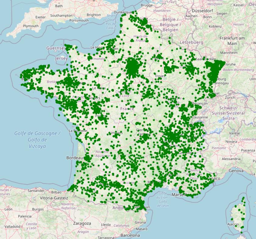 Localisation des défibrillateurs en France métropolitaine à la mi-octobre 2020.